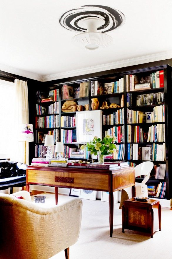 Tour a Designer's Own Luxe, Eclectic Virginia Home // Library With Black Built-In Bookcase