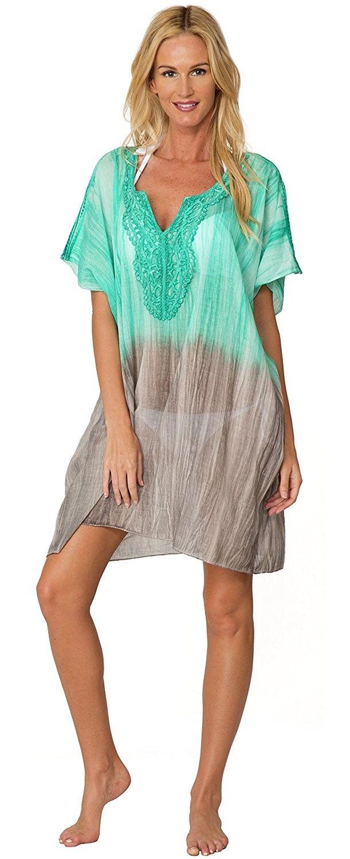1c2920ac74de8 Swimsuit Cover Up Crochet Tunic Dress Casual Wrap Poncho Beachwear ...