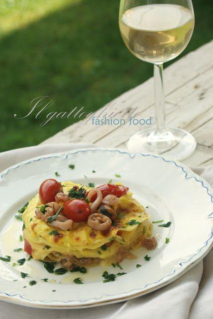 il gattoghiotto: Lasagne ai frutti di mare e zafferano