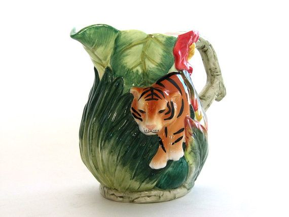 Vintage Majolica  Ceramic Jungle Tiger Leaves by EncoreEmporium