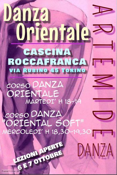 #ArtemideDanza #corsi  #Torino #CascinaRoccafranca #danzaorientale #danzadelventre #bellydance  Per maggiori informazioni:  https://www.facebook.com/events/1521122614845250/  httpsa//www.smore.com/2zwbw:::https://www.smore.com/2zwbw  info@artemidedanza.it   ✵ CASCINA ROCCAFRANCA Via Rubino 45 Torino => MARTEDÌ ore 18.00-19.00 principianti => MERCOLEDÌ ore 18.30-19.30 ORIENTAL SOFT (danza orientale per il benessere)  lezioni di prova gratuite: martedì 6 e mercoledì 7 ottobre 2015