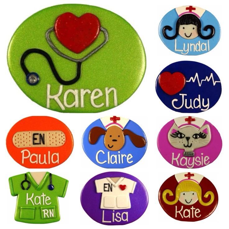 Name Badges Made to Order | Get your personalized name badge. I will customize a badge from my range of 150+ designs and 24 background colours Just For You. Get your name badge and brighten up your hospital ward or workplace, put a smile on a patients face. Great for nurses, medical staff, teachers, aged care staff, early childhood workers, receptionists, dentists, vets