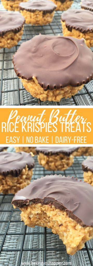 Peanut Butter Rice Krispies Treats (Dairy-Free), a no bake quick and easy to make not too sweet crowd pleasing treat! Quick, Easy, No Bake, Vegetarian, No Dairy.