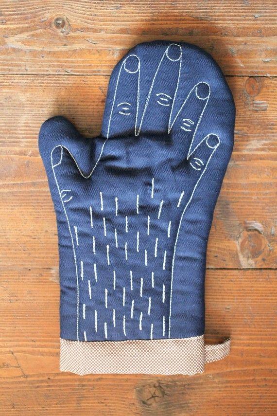 blue handmade oven glove $28 pollaz.etsy