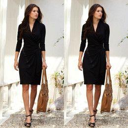 Descuento clásico vestido negro 2015 Mini corto vestidos de baile por encargo de V-cuello 3/4 manga larga vestidos de baile clásico mini vestidos formales Pequeño Negro Vestidos Tallas Grandes