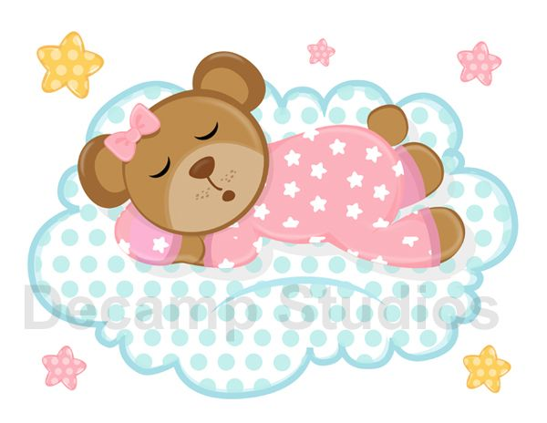 Sleepy Pink Teddy Bear Cloud Stars Mural Wall Decal Girl Nursery