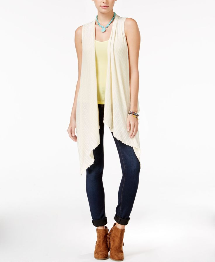 American Rag Crochet-Trim Mixed-Media Waterfall Vest, Only at Macy's
