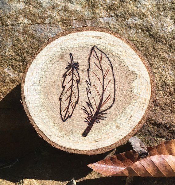 Cherry Wood Feathers Magnet Wood Magnets Fridge Magnets Decorative Magnets Unique Magnets Wood Feather Wood Burning Art Wood Burning Crafts