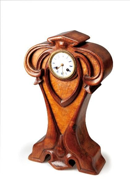 Art Nouveau Majorelle wood clock case