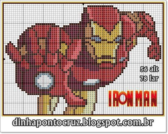 Homem de Ferro by Dinha ponto cruz