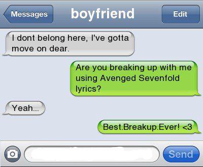 Text message breakup lyrics