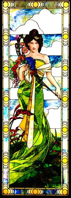 Art Nouveau Style Seasons: Spring Stained Glass by Jim M. Berberich, Bogenrief Studios, inspired by Alphonse Mucha