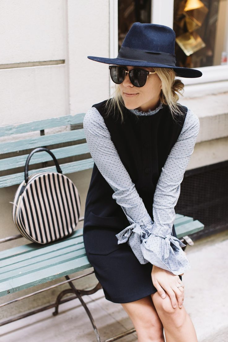 Intermix Top {$235} // Helmut Lang Dress {$1,295, similar one here} // Hermes Oxfords {$890} // Janessa Leone Hat {$195} // Mansur Circle Bag {$1,095} Photos by Alexandra Gibbs Shop My Outfit