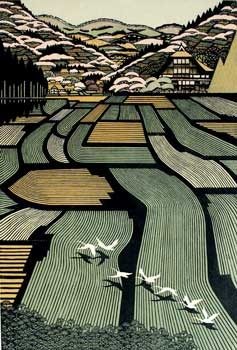 Ray Morimura: House in Tamugimata, woodblock, 1999