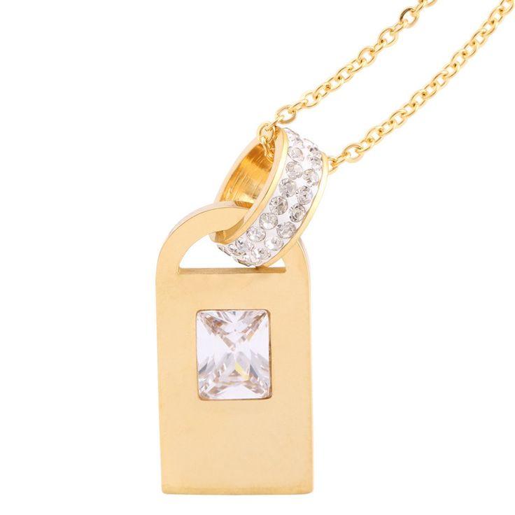 Stainless Steel 18 K Gold Plated Zircon Pendants