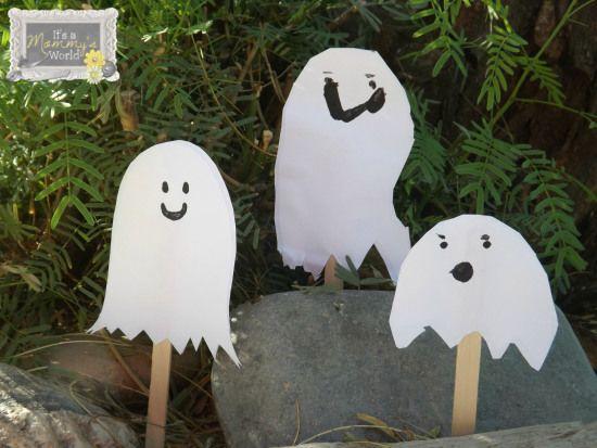 Halloween ghost puppet craft
