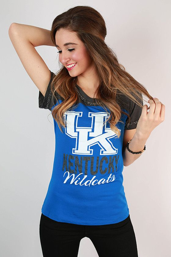 Show your love for the University of Kentucky in this darling bedazzled tee!