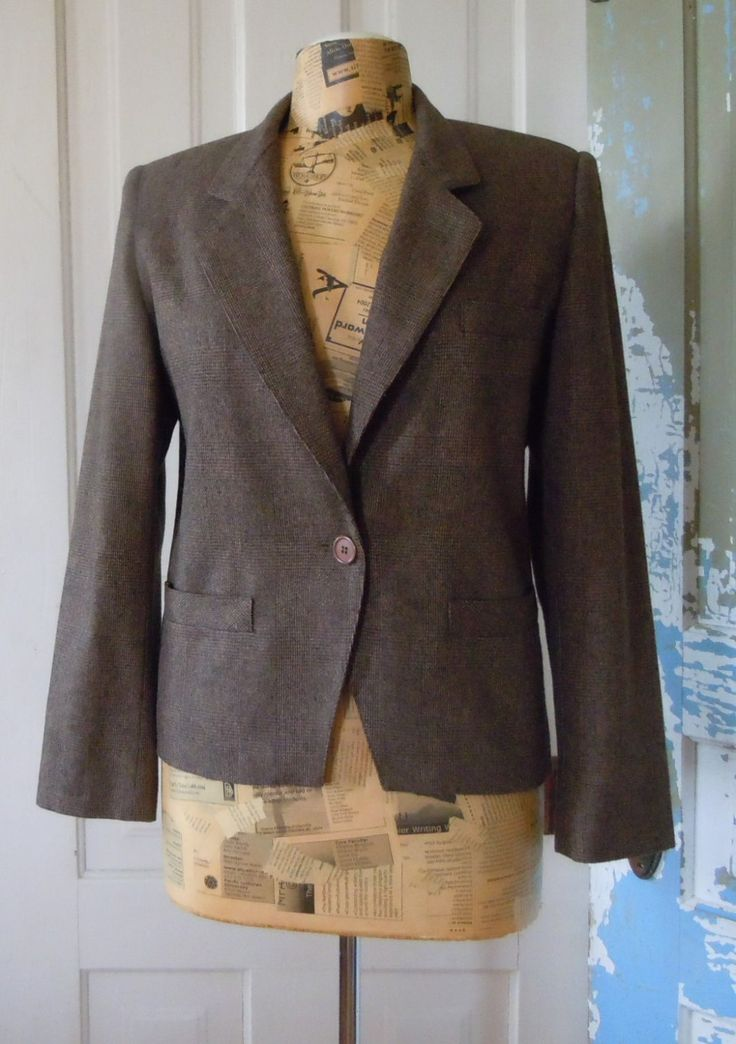Vintage Brown Wool Plaid Blazer, Gilmore Women's Suit Jacket Sz 7/8 by ReTHINKinIt on Etsy