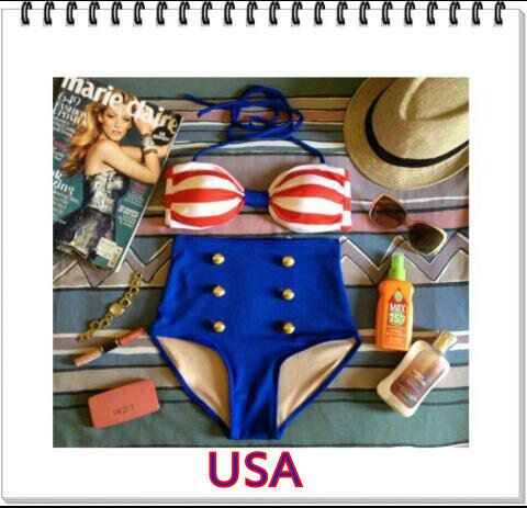 4th of july high waisted bikini