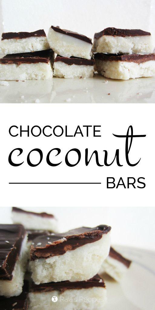 Chocolate Coconut Bars | grain-free, gluten-free, dairy-free, egg-free, refined sugar-free | RaiasRecipes.com