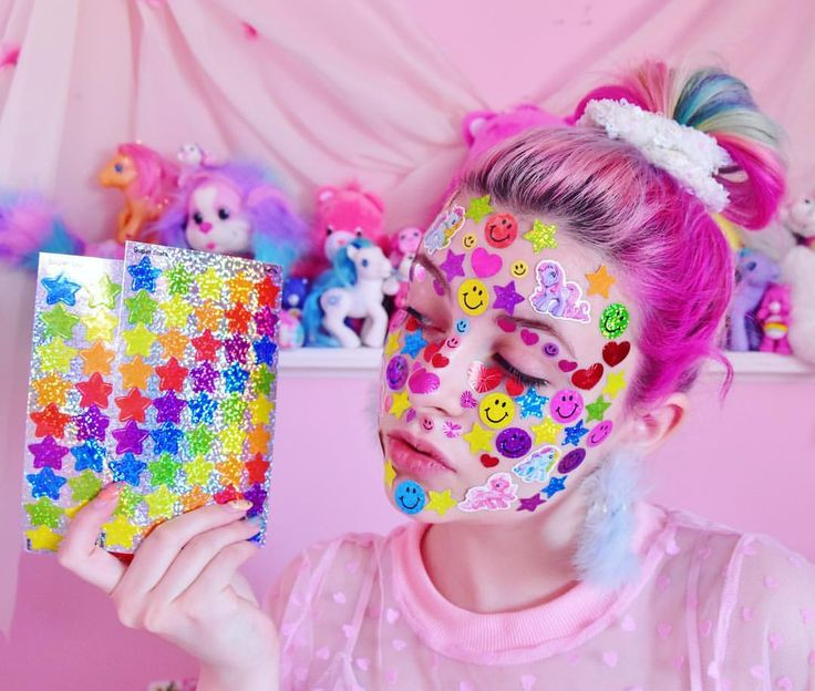 "pixielocks: ""Just uploaded a SPICY STICKER VID on my Youtube channel- link in bio ⭐️ Watch me cover my face in stickers??? #pixielocks #confetticlub #stickers #fullfaceofstickers """