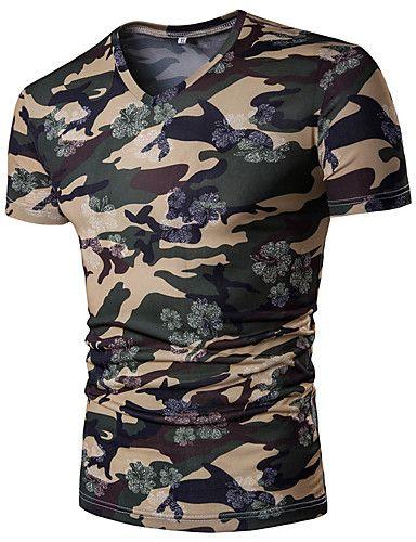 Hombre Tejido Oriental Casual Casual/Diario Verano Camiseta,Escote en Pico Color Camuflaje Manga Corta Poliéster Fino 5938326 2017 – $38.095