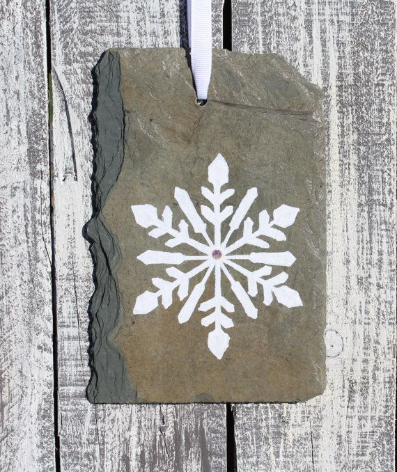 Slate Snowflake Ornament Hand painted Upcycled by SlatedInSpirit