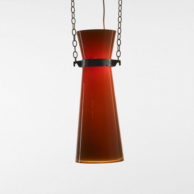 Studio BBPR pendant lamp Venini Italy, 1954 glass, nickel-plated brass 10 dia x 26 h inches