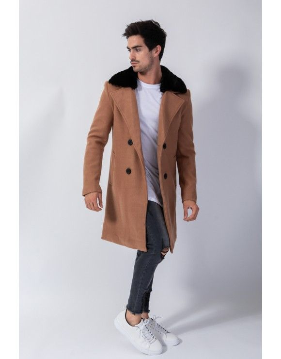 Manteau homme chic marron à col fourrure