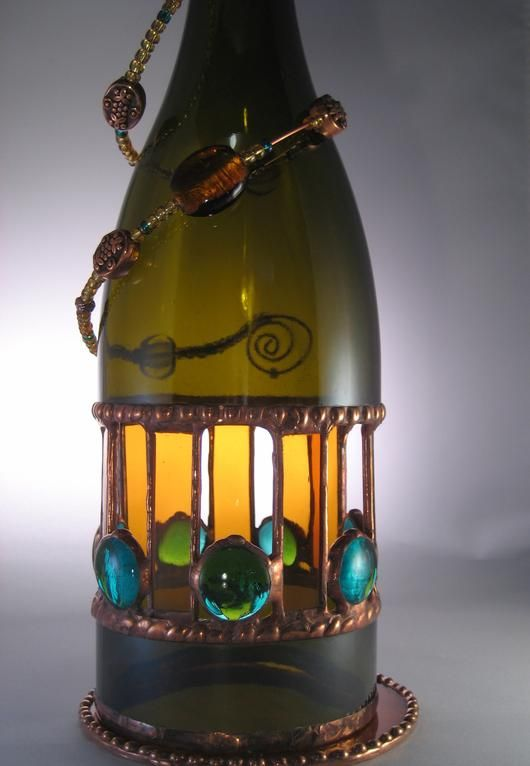 16 best images about wine bottles on pinterest project for Recycled glass art projects