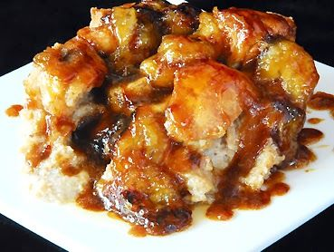 Tierney Tavern: Bananas Foster Bread Pudding with Caramel Rum Sauce