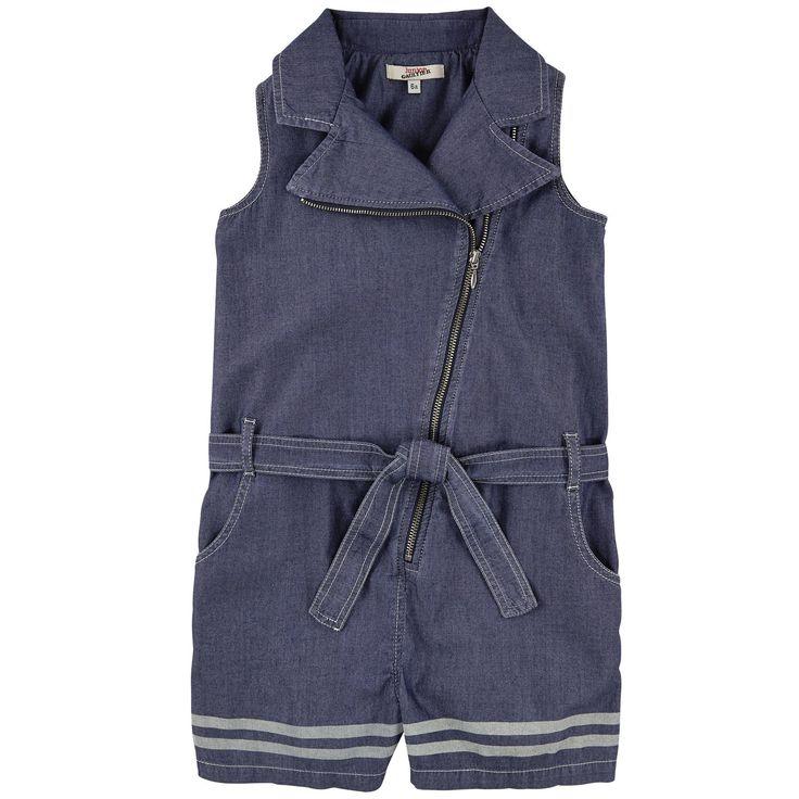 Combishort 'perfecto' en chambray de coton - Bleu - 105430