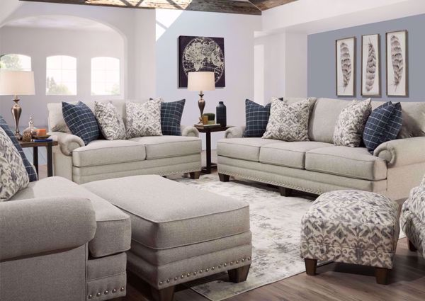 Fletcher Sofa Set Light Gray Front Room Furnishings 4 Piece
