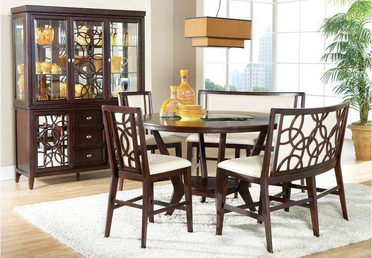 Rooms To Go Cindy Crawford Home Highland Park Ebony 5 Piece Counter Height D