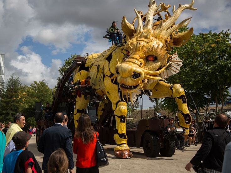 La Machine's latest animatronic puppet is a giant, walking, fire-breathing dragon that took to the street of Nantes, France for a spectacular test debut.
