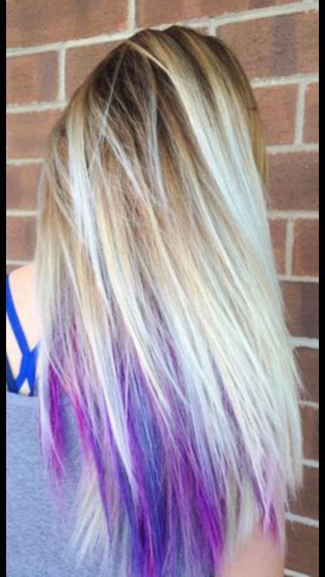 Blonde Hair With Purple And Dark Blue Underneath Blonde Blue Dark Hair Purple Underli In 2020 Underlights Hair Peekaboo Hair Hidden Hair Color