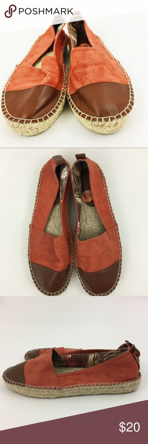 Kenneth Cole Espadrilles with Faux Leather Toe Orange espadrilles with faux leather toe. In great condition. The top is canvas. All manmade materials. ℹbundle for a great dealℹ Kenneth Cole Reaction Shoes Espadrilles