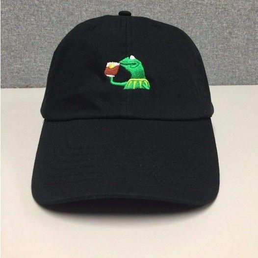 KERMIT TEA Hat (slide buckle) none of my business emoji king lebron james meme Wolves cap THE life of pablo Kanye west Pop Up