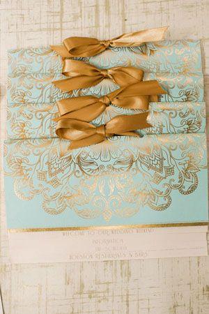 Oh So Beautiful Paper: Michelle + Renzo's Elegant Gold Foil Wedding Invitations