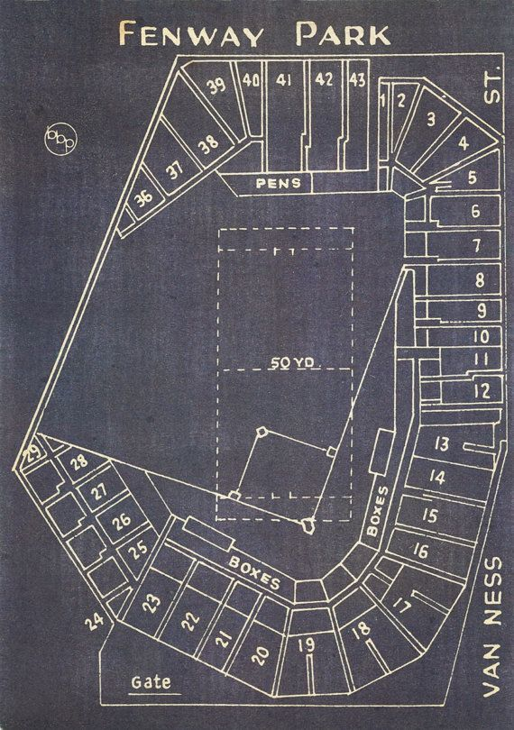 Vintage Boston Red Sox Fenway Park Blueprint on Canvas Sports Stadium Tickets Art Home Decor Giclee