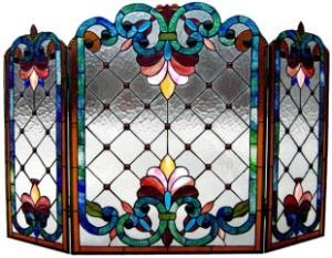 Chloe Lighting Tiffany Style Victorian Fireplace Screen with 79 Cabochons -