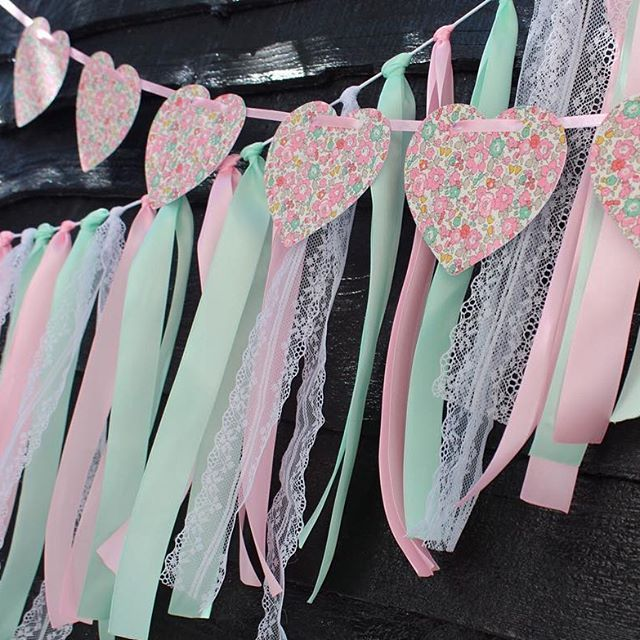 #christening time ✨ . . eventstyling #libertyfabric #ribbongarland #pretty #hearts #satinribbon #lace #mpsandtsc #uniquepartygifts #smallbusiness #kidsinteriors #childrensinteriors #kidsparty #childrensroom #playroomdecor #handcrafted #nurseryinspo #partystyling #personalised #customorder #homedecor #nurserydecor #partydecor #kidsroom #wallart #playroom #kidsinteriors_com
