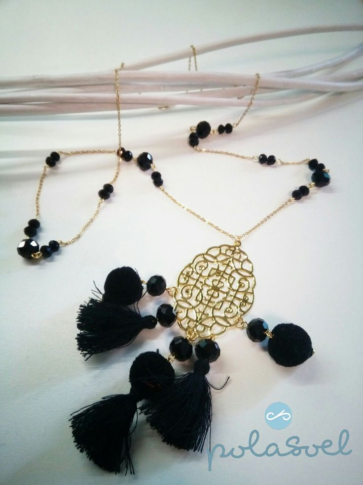 Chain necklace, with gold plated elements,black floss,lazer cut element,iridescent black crystals by polasoeljewelry on Etsy