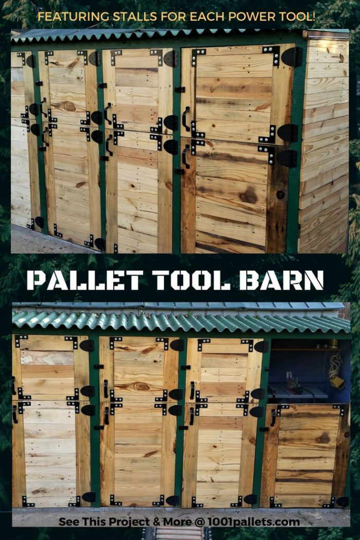 "Like most of you, I have a backyard shed, but as my hobby interests grew, so did my collection of tools. I found myself building pallet carts for my tools so they were on wheels, which helped greatly, but I still always needed ""the tool in the back of the shed"", meaning I had to unpack my shed daily for various projects. I finally came up with an idea to get around that issue by making my own Pallet Tool Shed Featuring Separate Tool Stalls. I was able to do this because o"