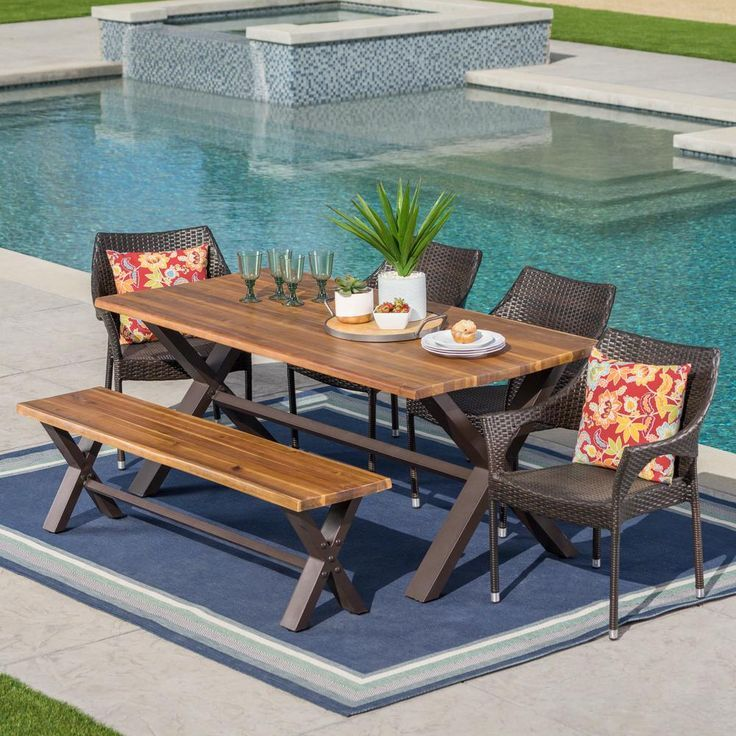 Noble House Multi Brown 6 Piece Wicker Wood And Metal Rectangular Outdoor Dining Set Outdoor Dining Table Setting Wicker Dining Set Outdoor Dining Table