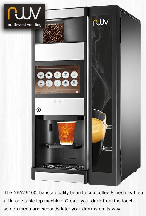 N&W 9100, offering total flexibility the 9100 serves espresso bean based coffees, instant decaffeinated coffee and hot chocolate. There is also a fresh leaf tea version where the instant coffee canister is replaced by the fresh leaf tea brewer. Its extra-large canisters (up to 4Kg of coffee beans in the Espresso model) provide a capacity similar to bigger floor standing machines in a smaller footprint. #N&W, #N&W 9100, #coffee machine, #espresso