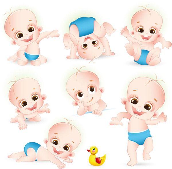 Cute cartoon baby vector graphics