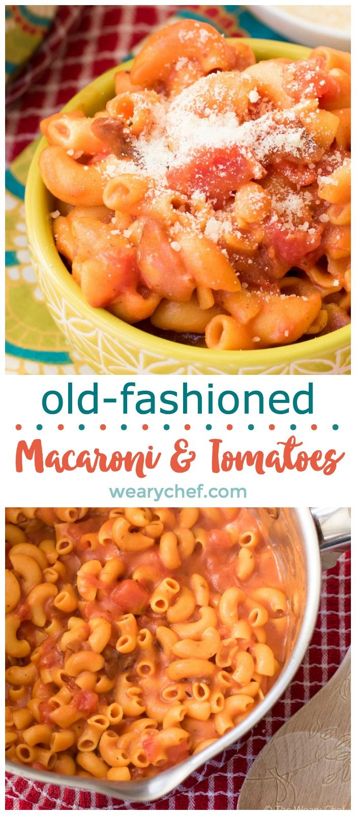 Old Fashioned macaroni and tomatoes is a delightfully quick side dish that could have come from your grandmother's kitchen! It's flavored with bacon, made in one pot, and ready in about 15 minutes!