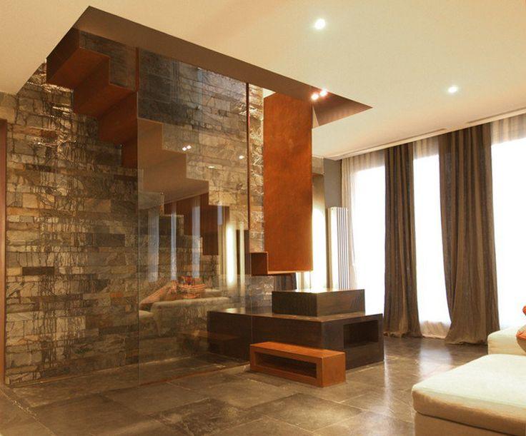 escalier intérieur design en bois, pierre, verre et acier corten, DeCastelli