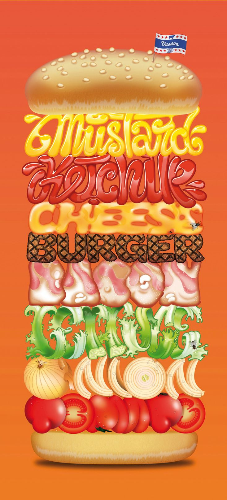 yummy typographic from German designer Vasava (from vasava.es): Design Inspiration, Graphic Design, Ideas, Illustration, Graphicdesign, Food Poster, Food Burgers